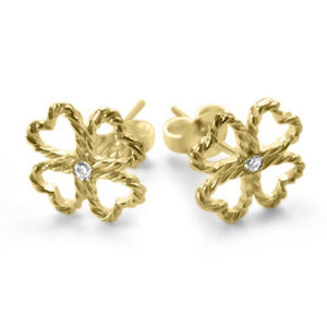 Gold Four Leaf Clover Earrings