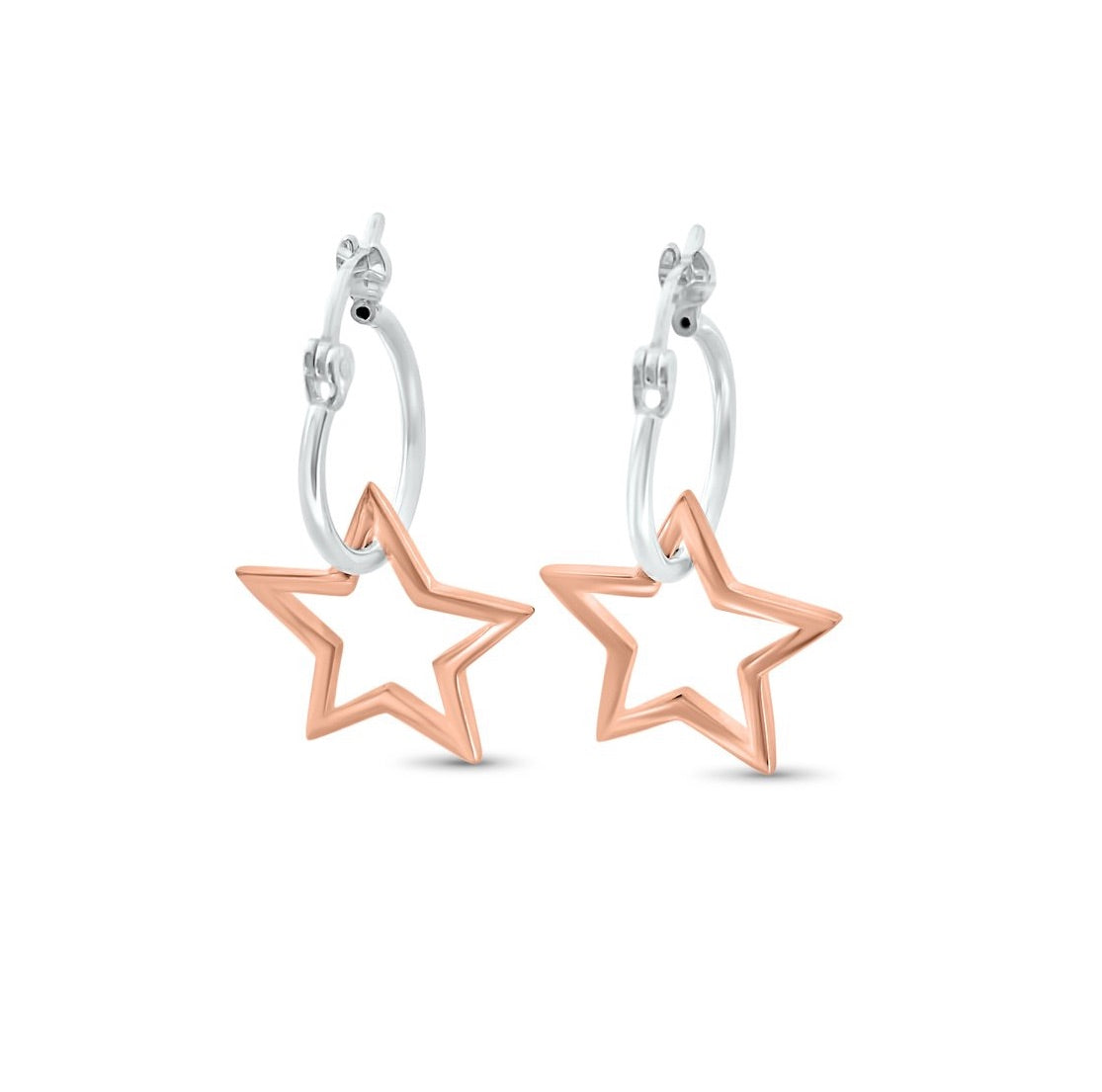 Silver and Rose Gold Star Hoop Earrings