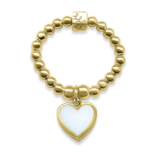 Gold & White Heart Stacking Ring