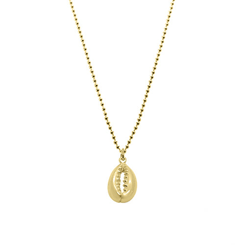 Yellow Gold Cowrie Shell Necklace