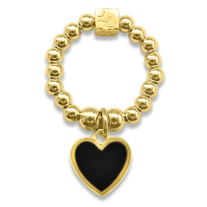 Gold & Black Heart Stacking Ring