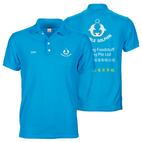 Bright blue polo tee shirt with A6 logo prints on front and A3 print on back