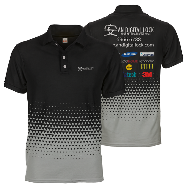 Black gradient an digital lock polo tee custom dye sublimation