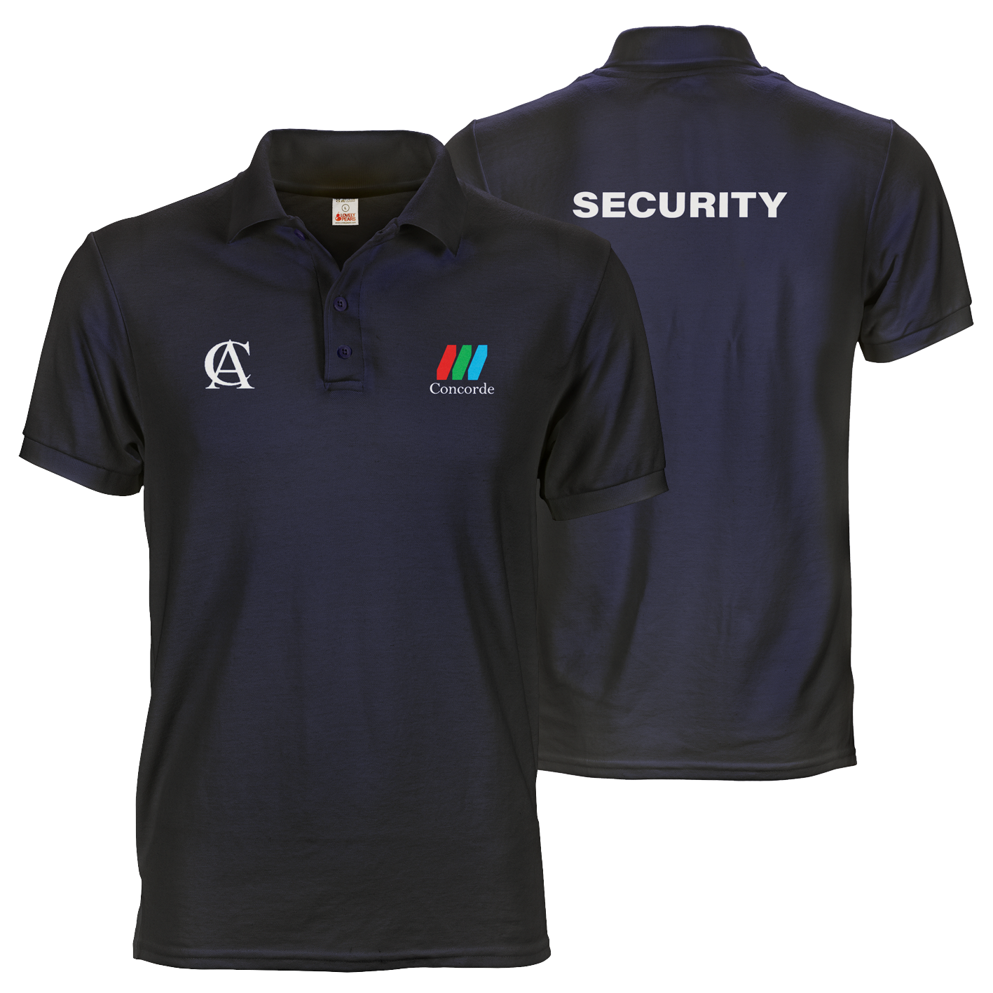 Navy blue CCTV polo tee shirt with A6 logo prints on front and A4 security print on back
