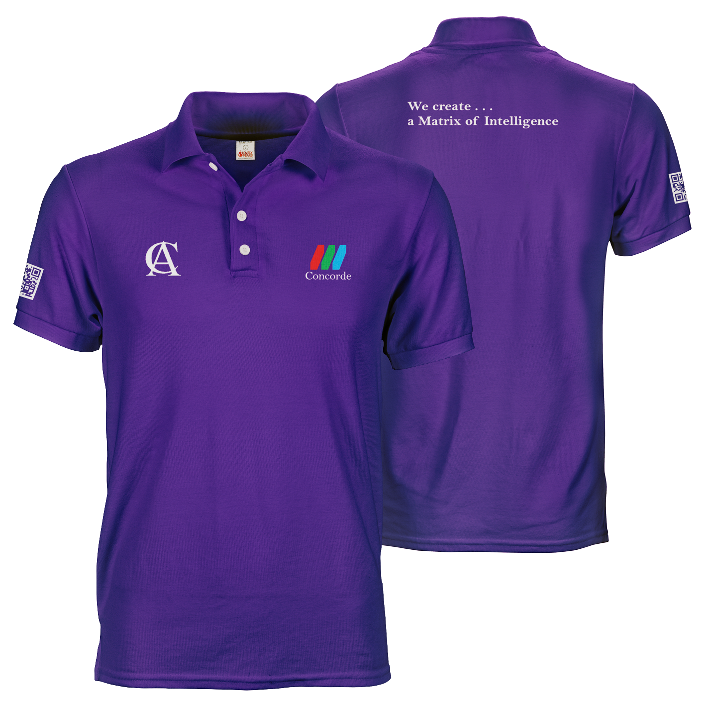 Purple CCTV Concorde polo tee shirt with A6 logo prints on front and sleeve and A4 motto print on back