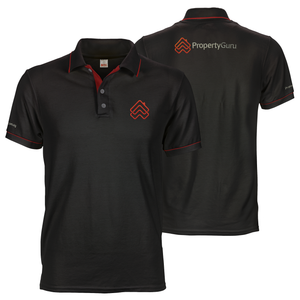 Black propertyguru embroidered polo tee with custom inner placket, collar and cuff piping