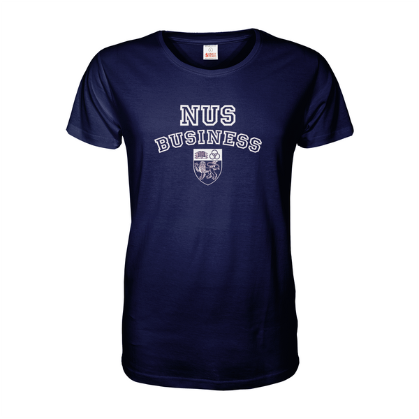 Navy Blue NUS Business T Shirt with A4 print across chest