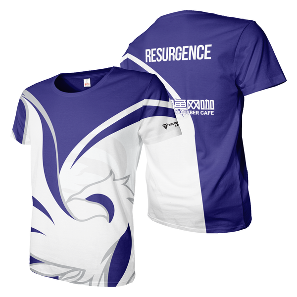 Blue and white Resurgence Esports Jersey dye sublimation print tee shirt