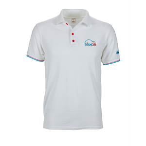 White BlueSG polo tee shirt with red and blue cuff tipping and red buttons