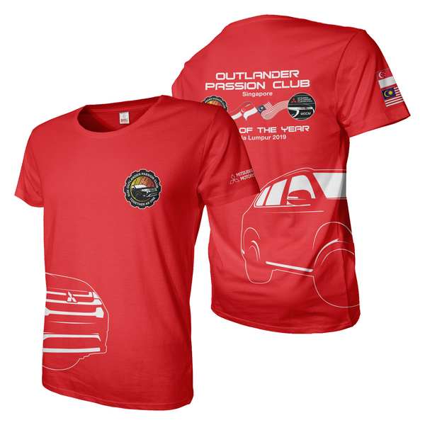 Red with motorsport logos team jersey dye sublimation print tee shirt