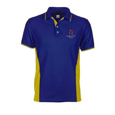 Blue and yellow Sengkang West CC Polo Tee with side panels, embroidered logo and custom inner placket and collar and cuff tipping stripes