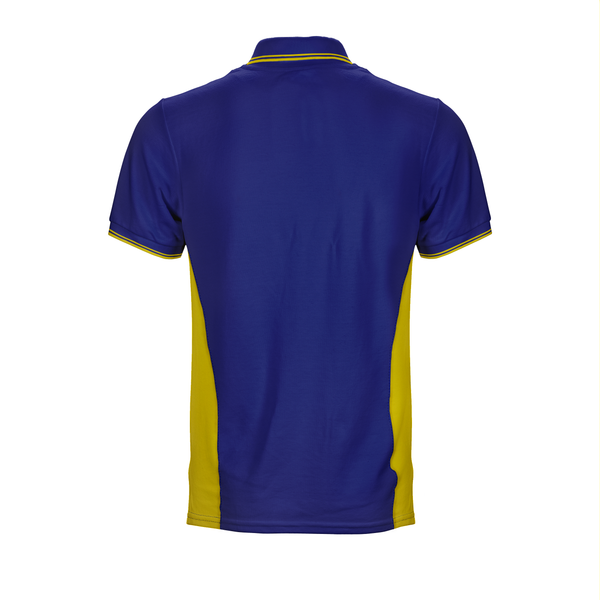 Blue and yellow Sengkang West CC Polo Tee with side panels, embroidered logo and custom inner placket and collar and cuff tipping stripes back view