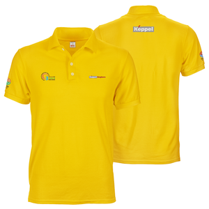 Yellow keppel polo tee shirt with A6 logo prints on front, sleeves and back