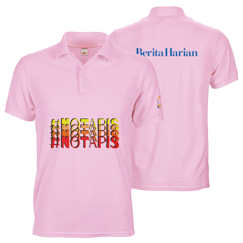 Custom pink polo tee unusual print positions