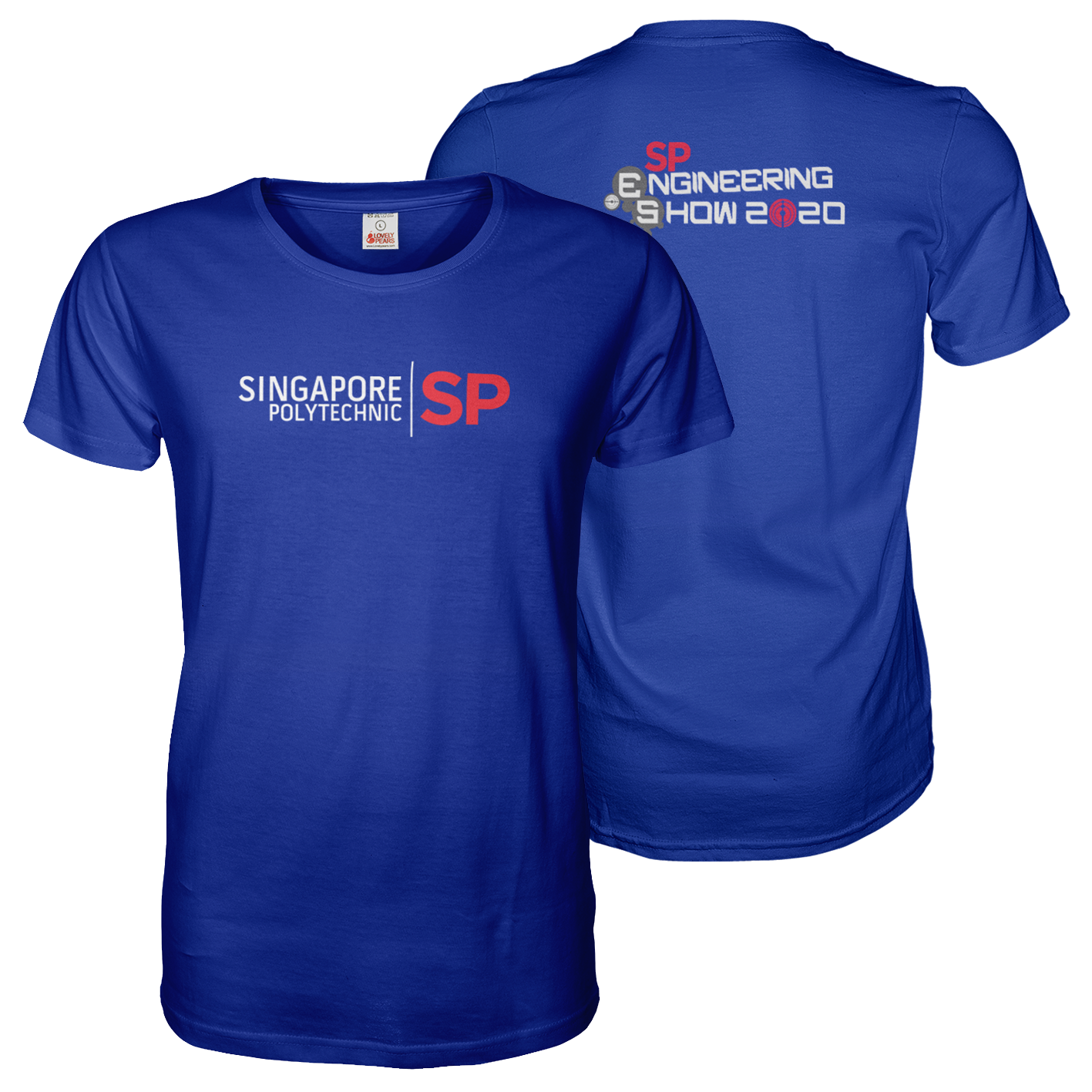 Royal Blue tee shirt with A4 Singapore Polytechnic Engineering Show front and back