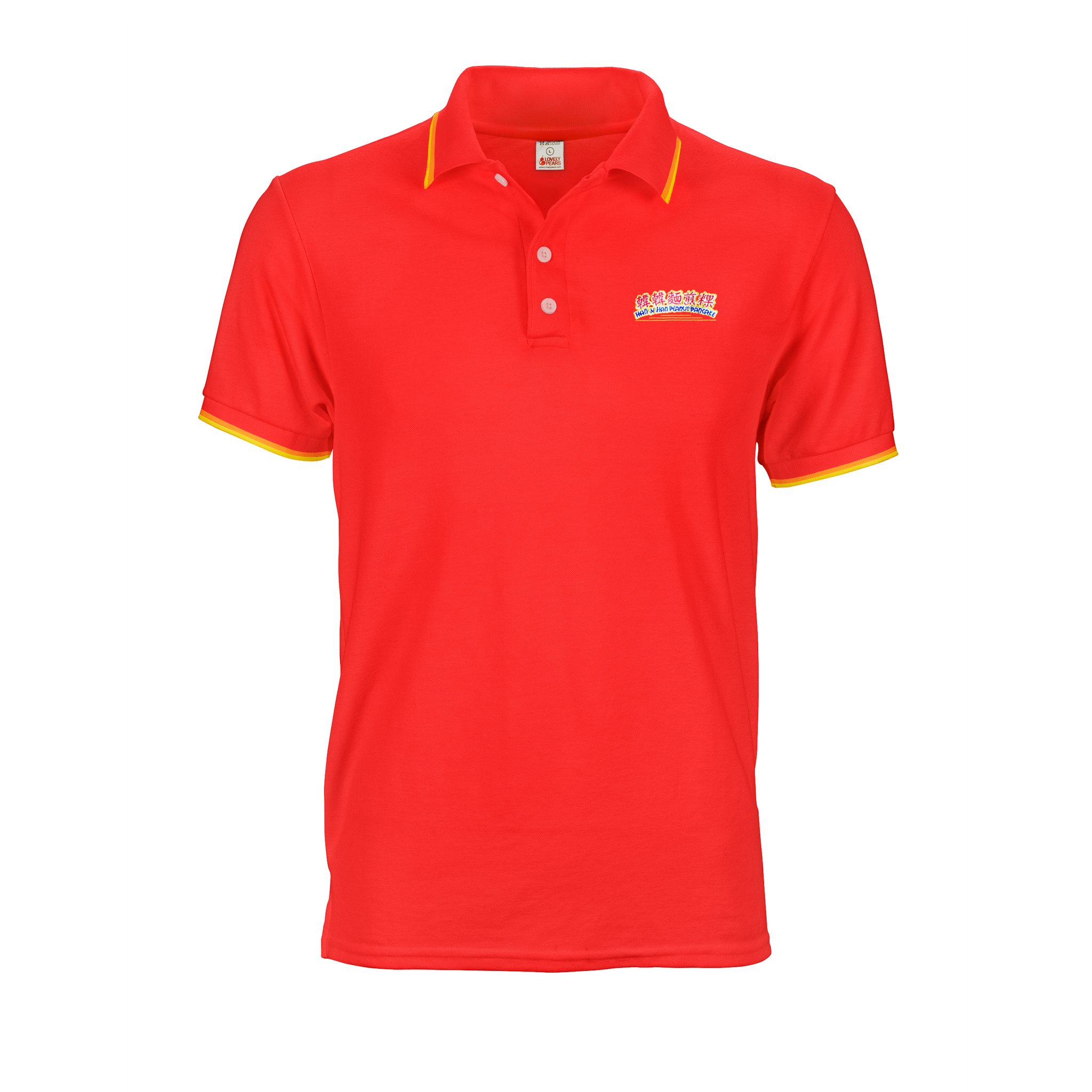Red Polo Tee with collar and cuff tipping stripes and embroidered logo