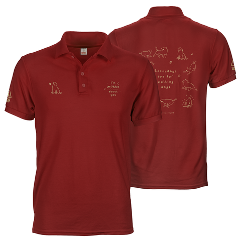 Maroon red SOSD polo tee shirt with A6 logo prints on front and A3 print on back