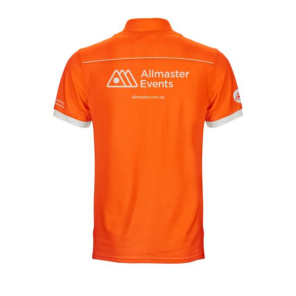 Orange and white Allmaster Polo Tee with shoulder panels, printed logos and custom cuffs and add on pocket back view