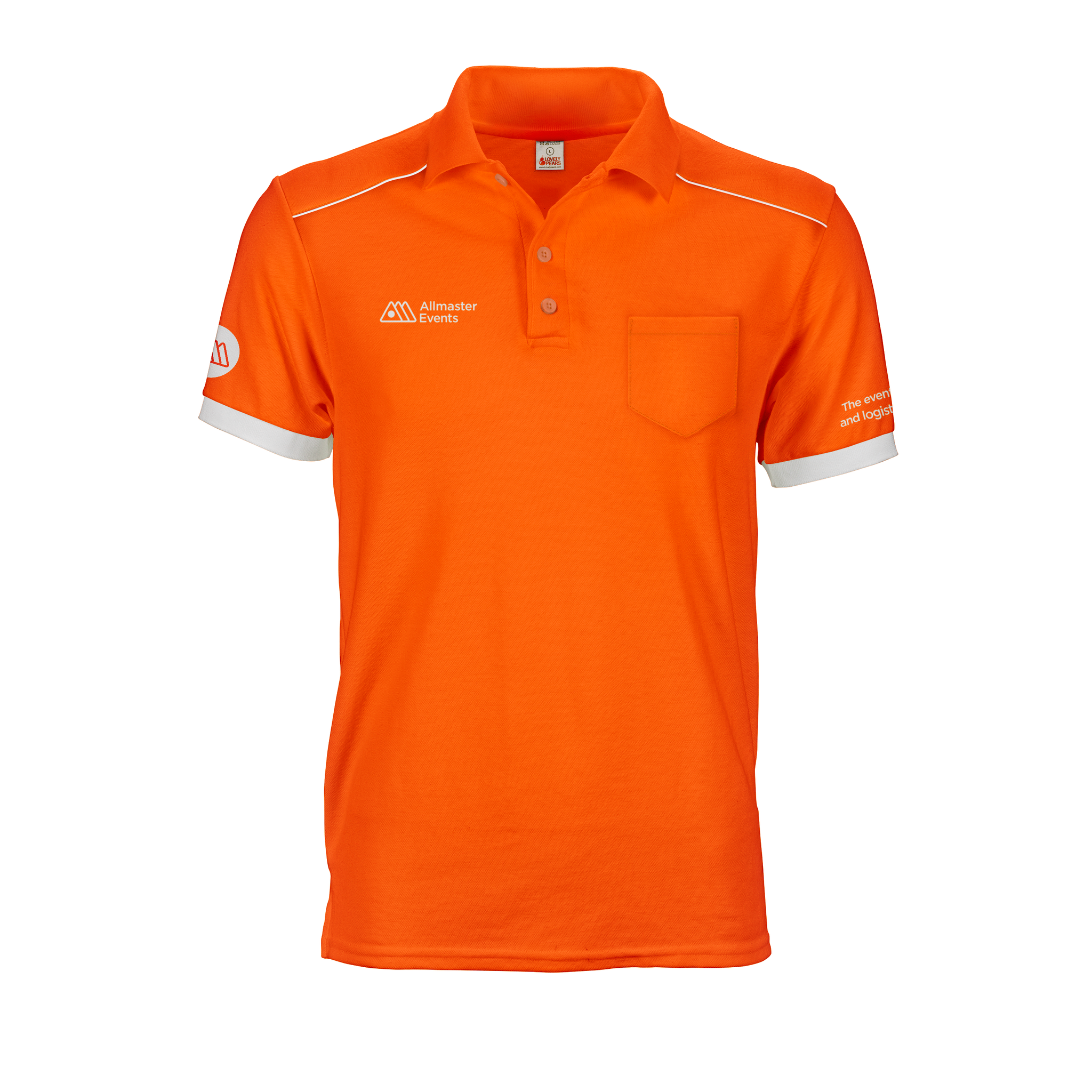 Orange and white Allmaster Polo Tee with shoulder panels, printed logos and custom cuffs and add on pocket
