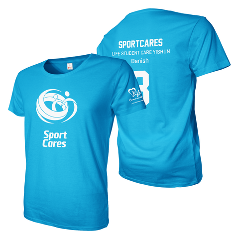 Sky blue tee shirt with Sportscares A3 front, back and one sleeveprint