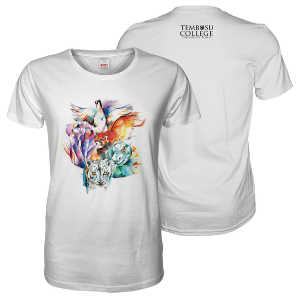 White tee shirt with A3 Tembusu NUS colourful front and A6 logo print on the back