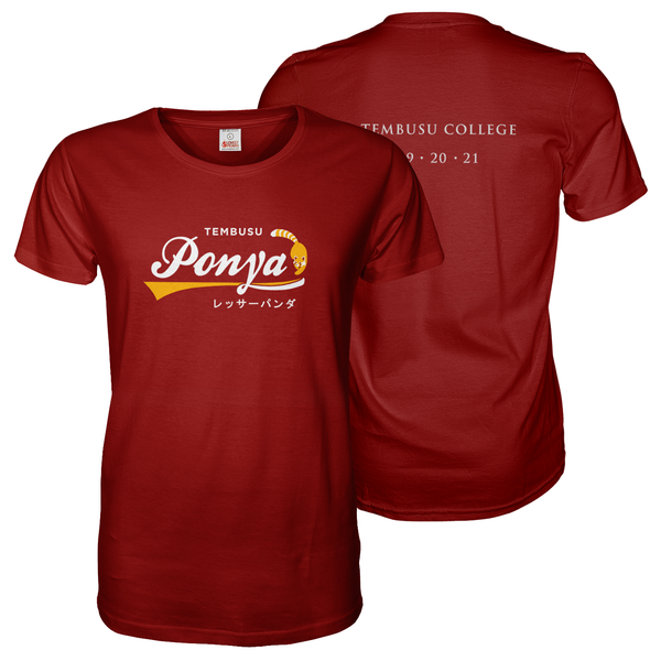 Maroon red tee shirt with A4 NUS Tembusu Ponya front and back