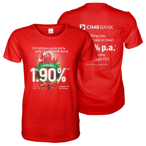 Red tee shirt with A3 CIMB bank front and back print