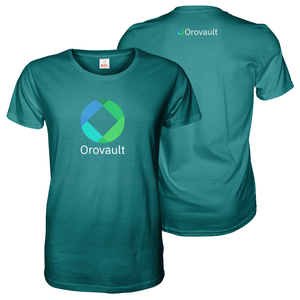 Turquoise tee shirt with A4 orovault front and A6 logo print on the back