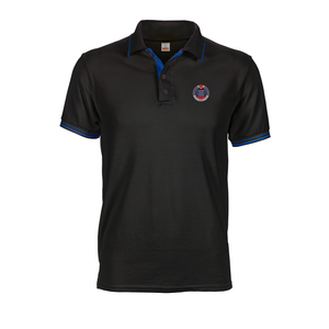 Black ICA polo tee with blue inner placket, collar and cuff tipping stripes