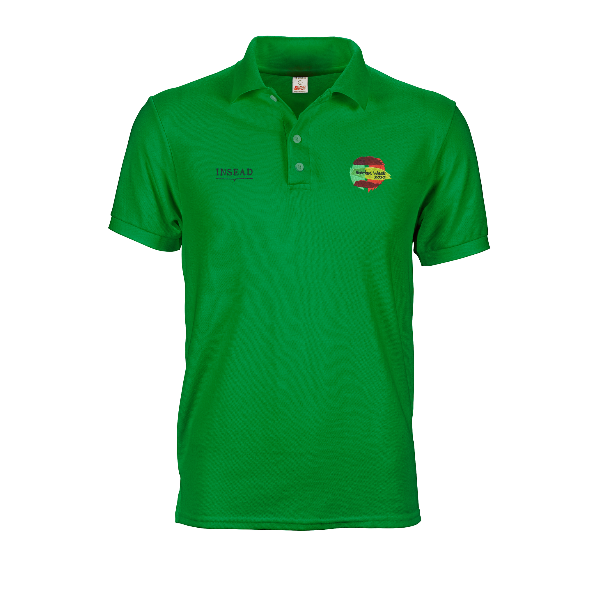 Green polo tee shirt with insead A6 logo embroidery