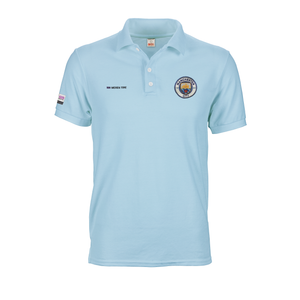 Light blue Manchester City polo tee shirt with A6 logo prints and embroidery on front and sleeve