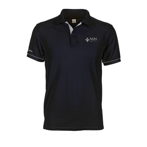 Custom placket embroidered National University Hospital logo navy blue polo tee