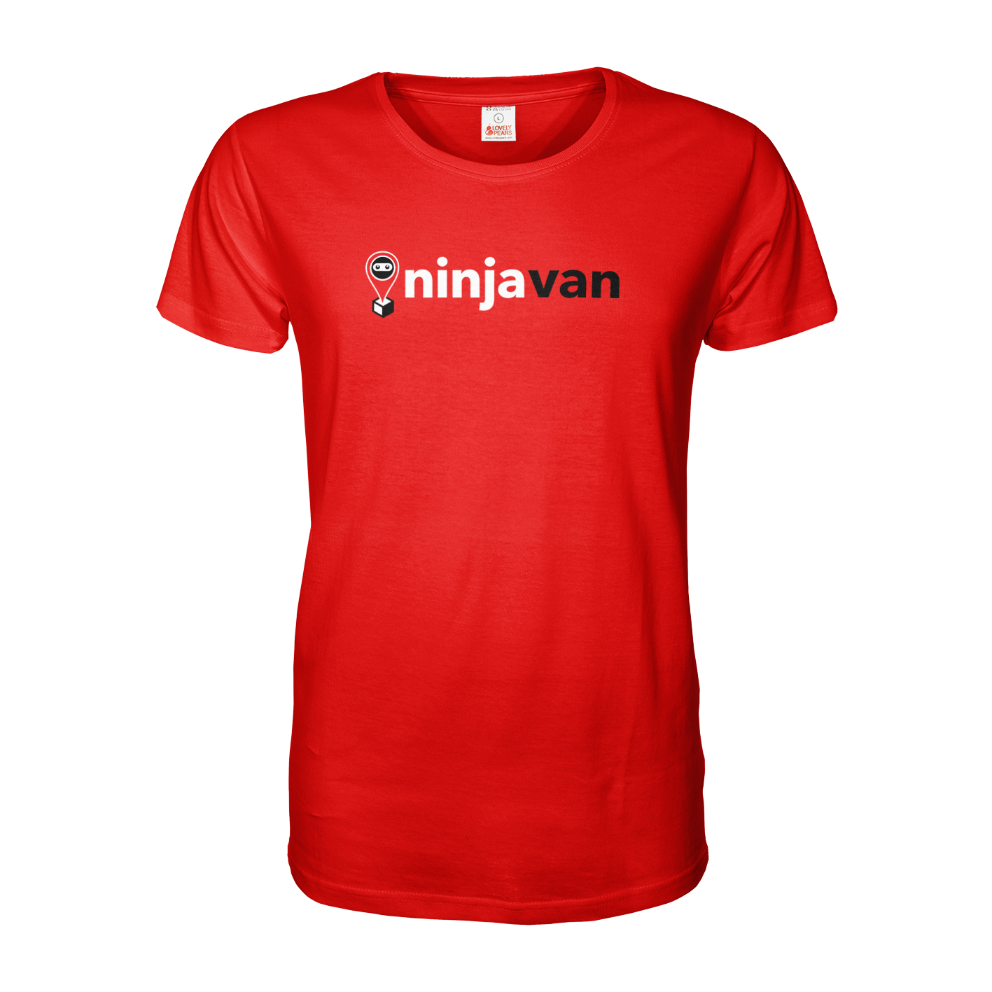 Red ninjavan T Shirt with A4 print across chest