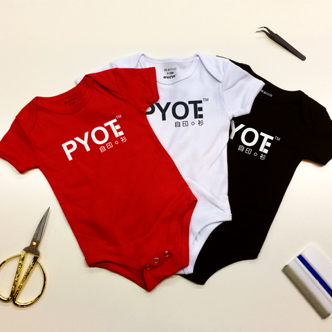 PYOT custom print baby romper in red white and black