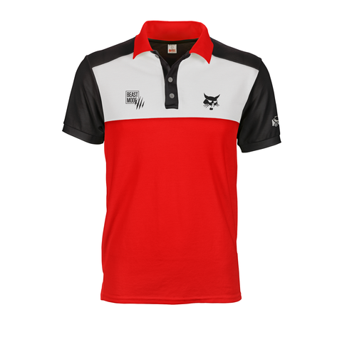 Black White and Red polo tee shirt with bobcat multico logos on custom shoulder yoke base