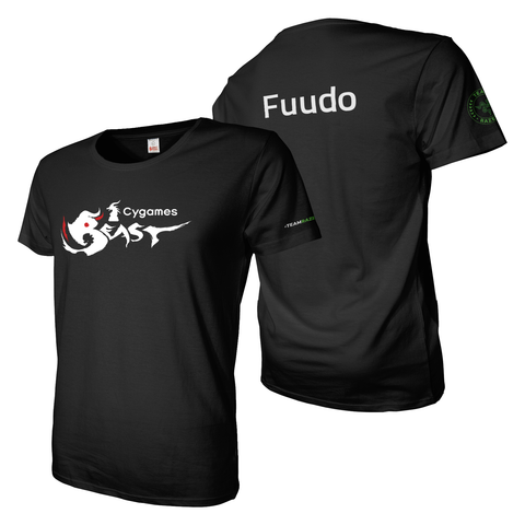 Black tee shirt with A4 cygames beast front and back custom name, Razer branding on sleeves