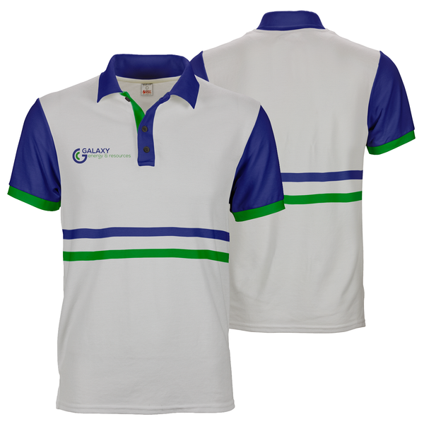 White with blue sleeves galaxy polo tee custom dye sublimation