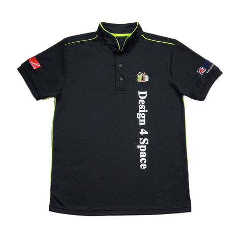 Customised mandarin collar polo tee shirt with green piping and embroidered logos on chest and sleeves, plus silkscreen large words on the front and back.