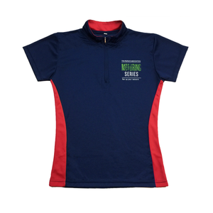 The people's association motoring series navy blue and red female cutting custom mock neck polo tee shirt with zip