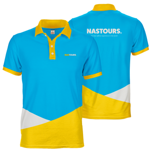 Blue white and yellow Nastours Nasdaily polo tee custom dye sublimation