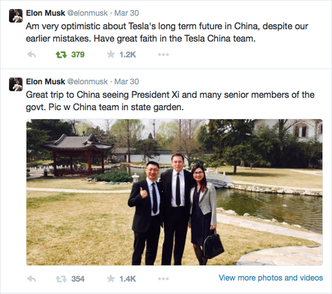 elon musk in china with president xi