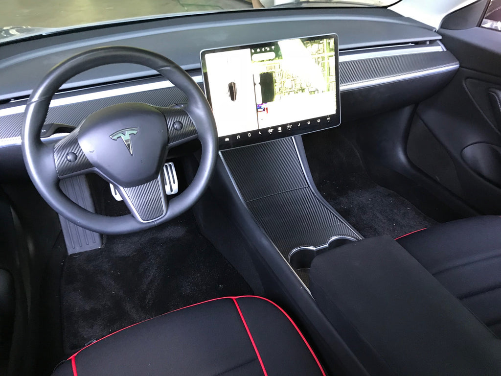 Pink Interior Protection Kit TESLA TMT Tesla Model X Eagle Wing Door Sills Wrap Protection Carbon Fiber Stickers