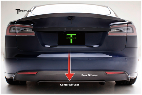 Tesla Model S Carbon Fiber Sports Package center diffuser
