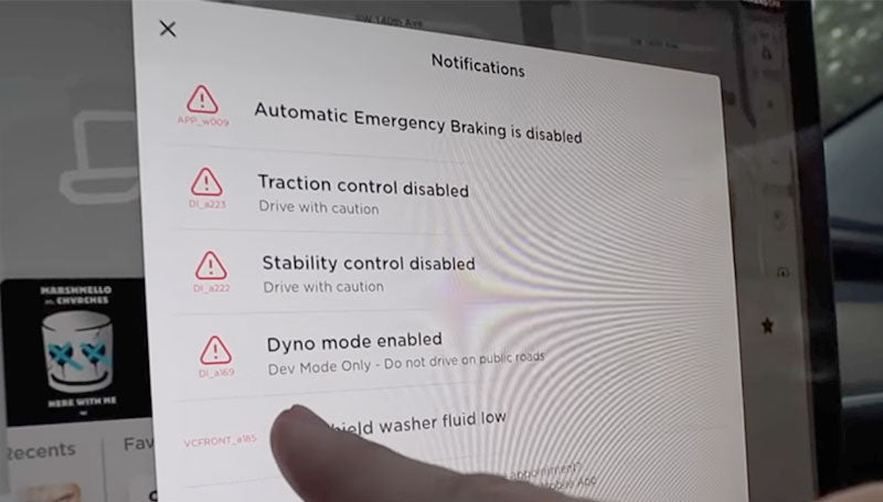 Tesla Model 3 Dyno Mode warning dialogue box.