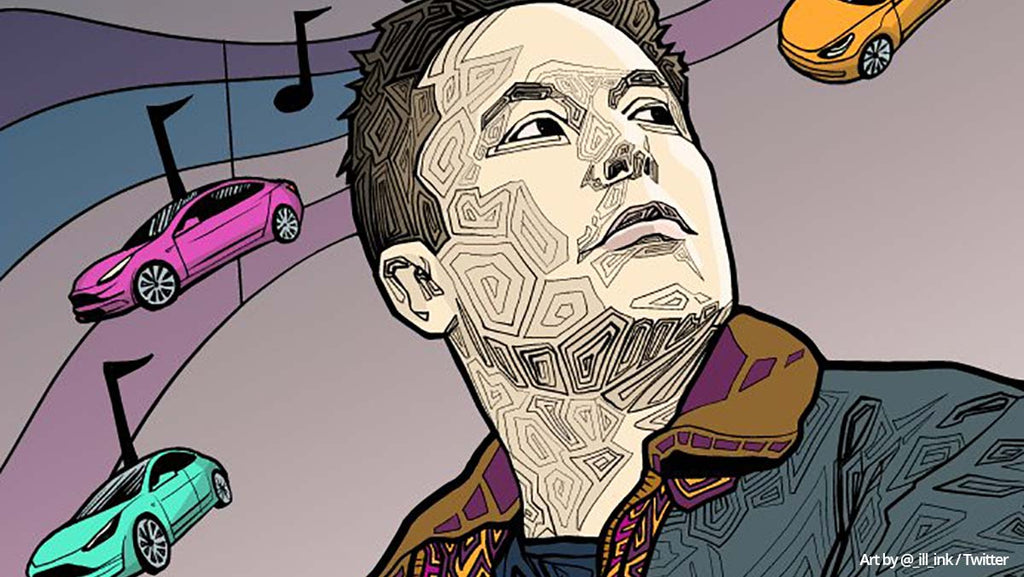 Elon Musk and Tesla in an illustration.