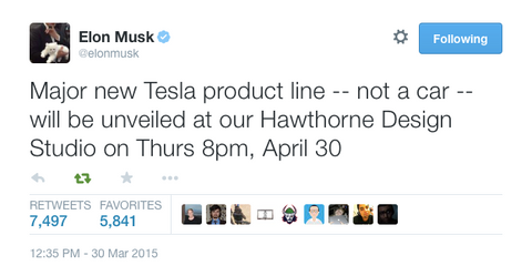 Elon Musk announcing a new product on twitter