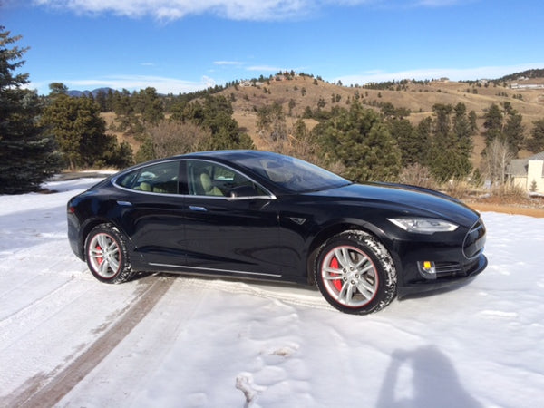 Tesla Model S with red MGP caliper covers