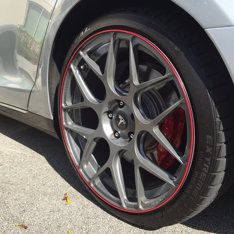 tesla model s aftermarket s117 wheels with red wheel bands