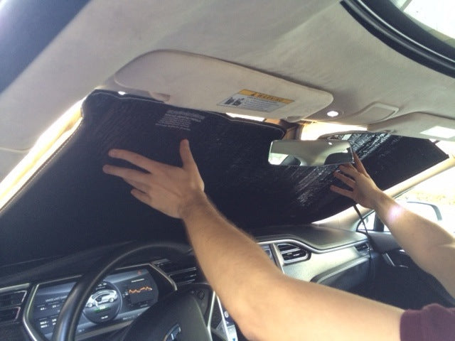 Tesla Model S HeatShield Custom Gold Series Sunshade installation