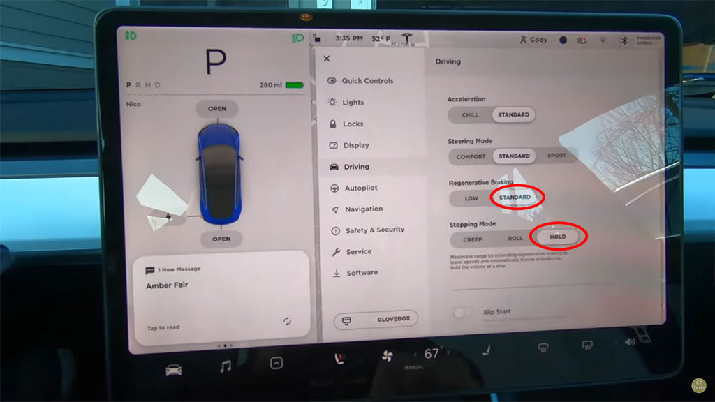 Regen braking options in a Tesla Model 3 electric car.